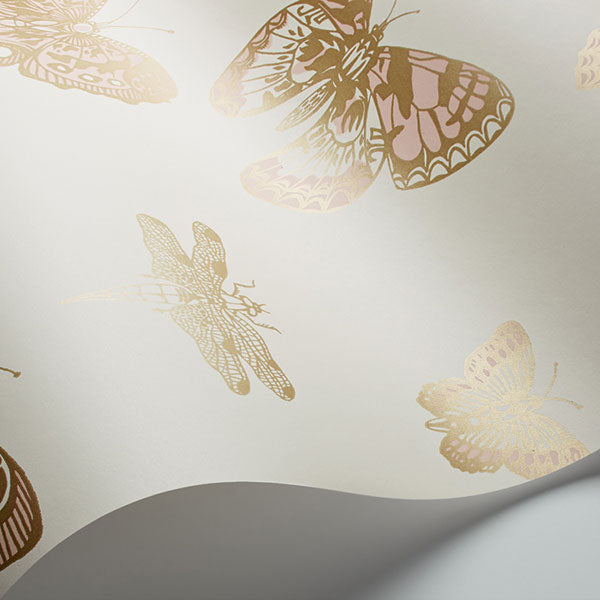 Cole & Son - Whimsical - Butterflies & Dragonflies in Pink on Ivory