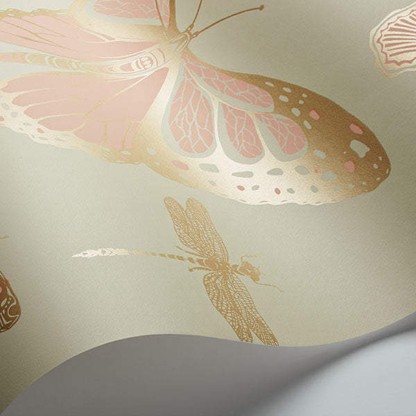 Cole & Son - Whimsical - Butterflies & Dragonflies in Pink on Olive