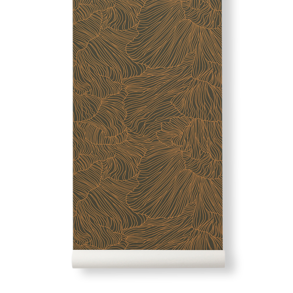 Coral Wallpaper - Dark Green / Gold by Ferm Living