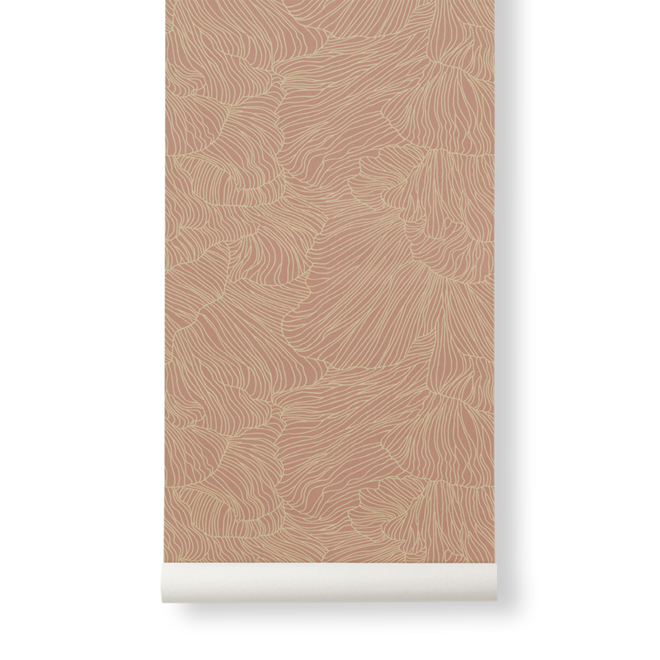 Coral Wallpaper - Dusty Rose / Beige by Ferm Living