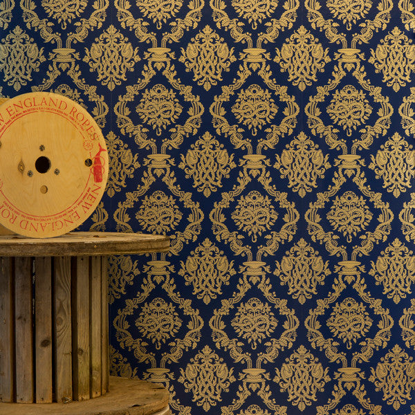 Cordage - Maritime on Matte Gold Mylar Wallpaper by Flavor Paper - Vertigo Home