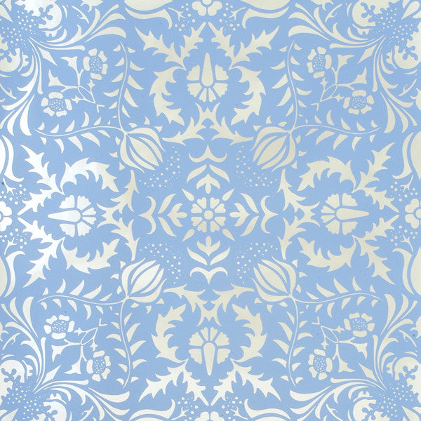 Dauphine - Bywater Blue on Silver Mylar Wallpaper by Flavor Paper - Vertigo Home