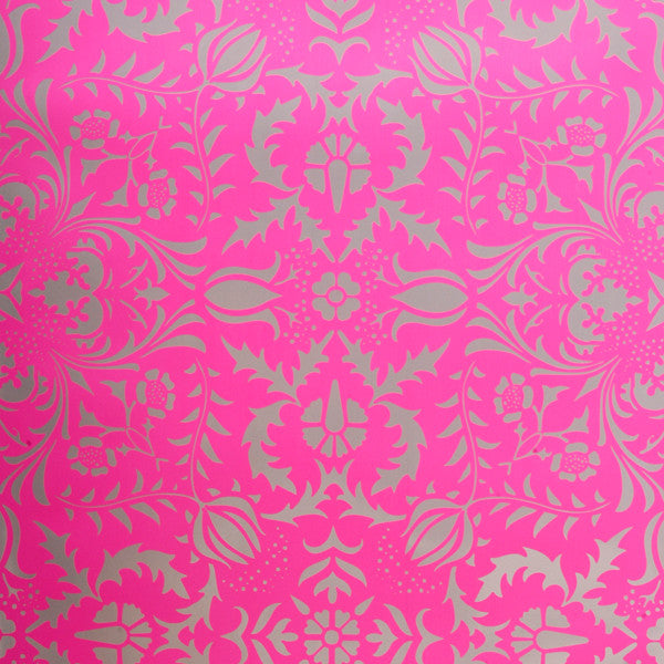 Dauphine - Electric Raspberry on Silver Mylar Wallpaper by Flavor Paper - Vertigo Home
