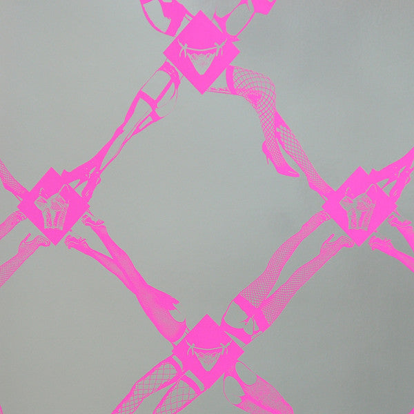 Fishnet - Electric Raspberry on Silver Mylar Wallpaper by Flavor Paper - Vertigo Home
