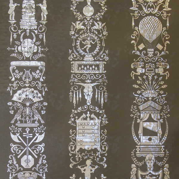 Great Hall - Graphite on Silver Pony Skin Foil Wallpaper by Flavor Paper - Vertigo Home