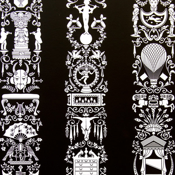 Great Hall - Licorice on White Mylar Wallpaper by Flavor Paper - Vertigo Home
