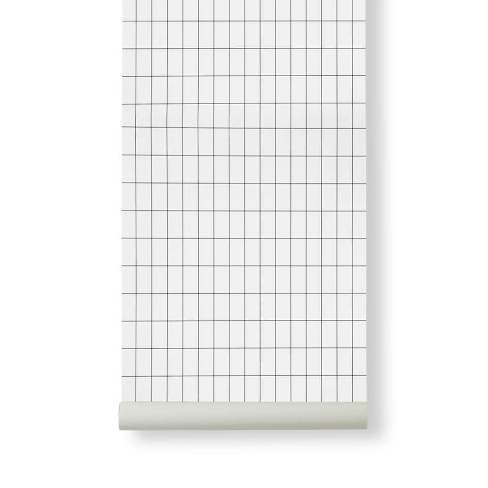 Grid Wallpaper - Black / White by Ferm Living