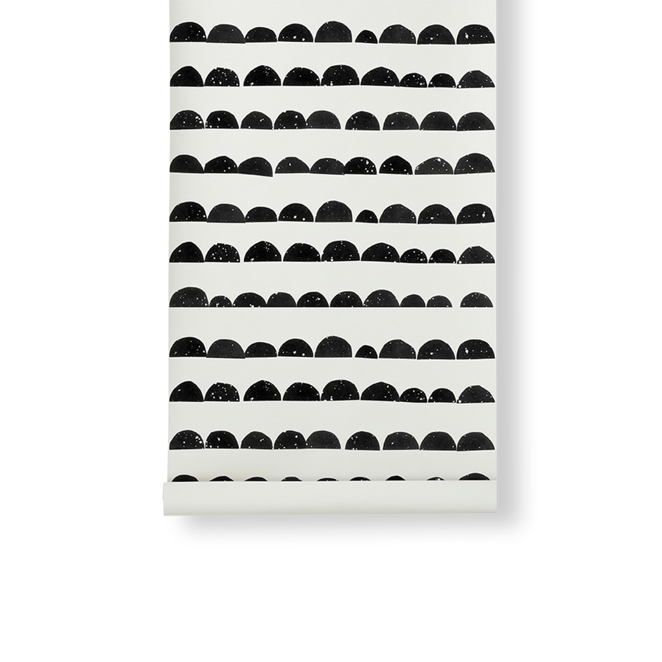 Half Moon Wallpaper - Black by Ferm Living