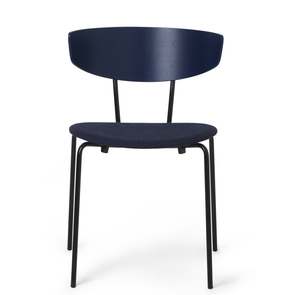 Herman Chair Dark Blue / Dark Blue Fabric Seat by Ferm Living