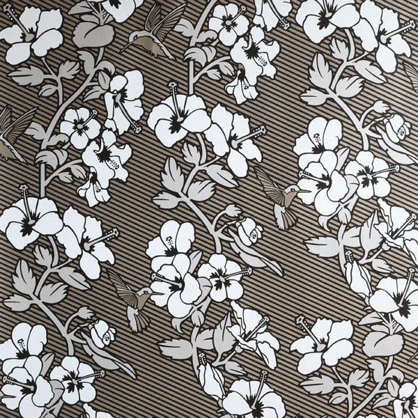 Hibiscus - Deco on Platinum Clay Coated Paper Wallpaper by Flavor Paper - Vertigo Home