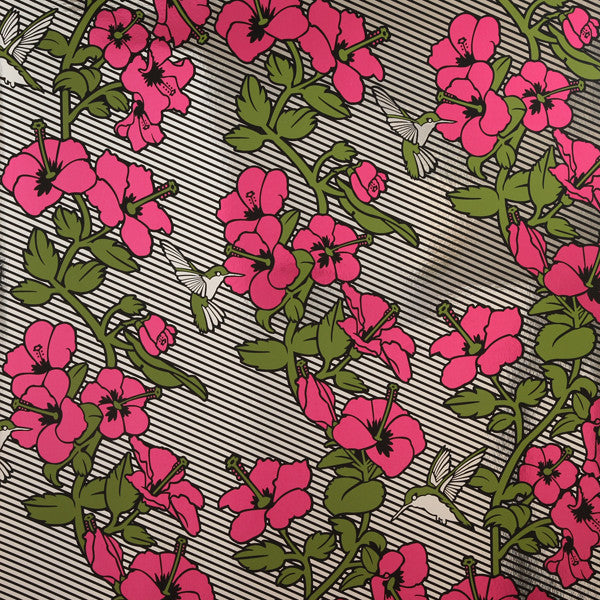 Hibiscus - Fruit Punch on Chrome Mylar Wallpaper by Flavor Paper - Vertigo Home