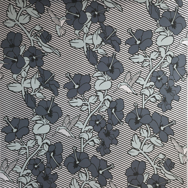 Hibiscus - Sage on Silver Mylar Wallpaper by Flavor Paper - Vertigo Home