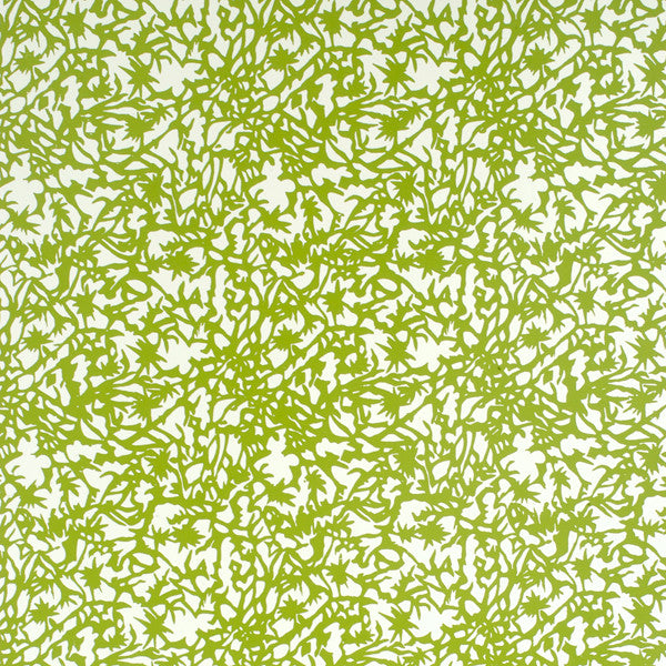 Huton - Avocado on White Mylar Wallpaper by Flavor Paper - Vertigo Home