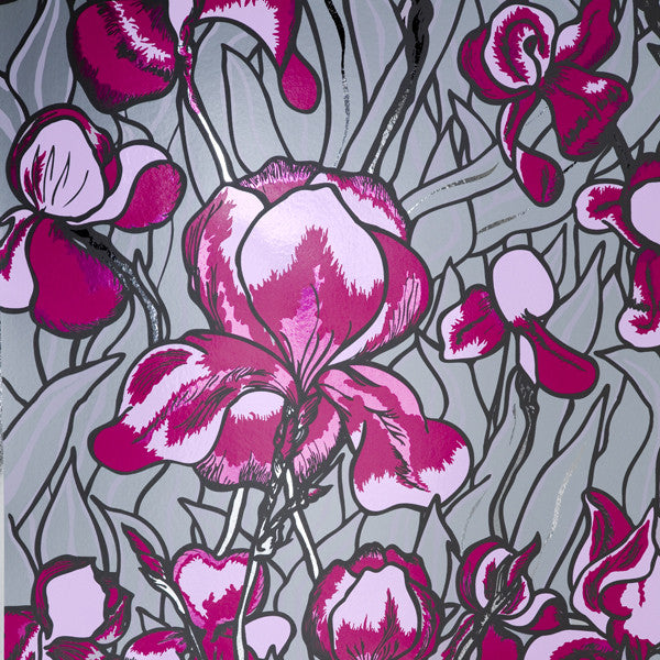 Iris - Fuschia on Chrome Mylar Wallpaper by Flavor Paper - Vertigo Home