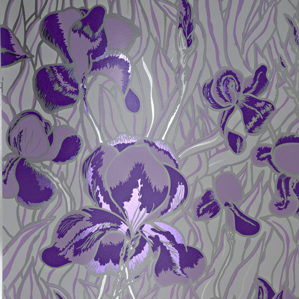 Iris - Gentle Violet on Silver Mylar Wallpaper by Flavor Paper - Vertigo Home