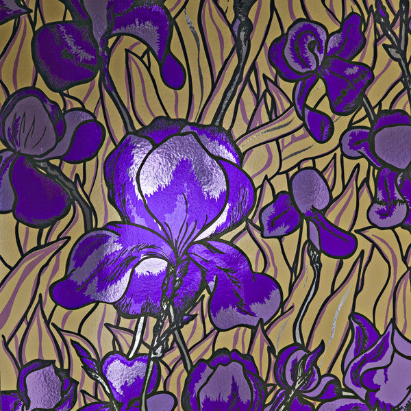 Iris - Regal on Chrome Mylar Wallpaper by Flavor Paper at www.vertigohome.us