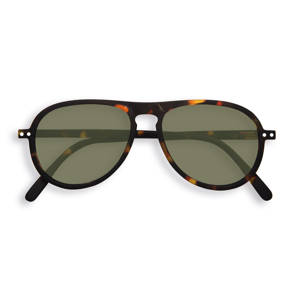 Tortoise Green Lenses #I Aviator Sunglasses by Izipizi