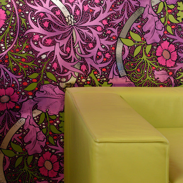 Kabloom - Fruit Punch on Chrome Mylar Wallpaper by Flavor Paper - Vertigo Home