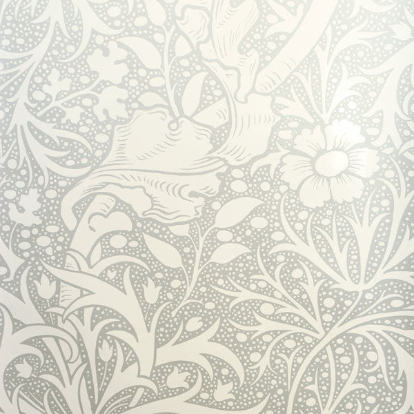 Kabloom - Silver on White Mylar Wallpaper by Flavor Paper - Vertigo Home