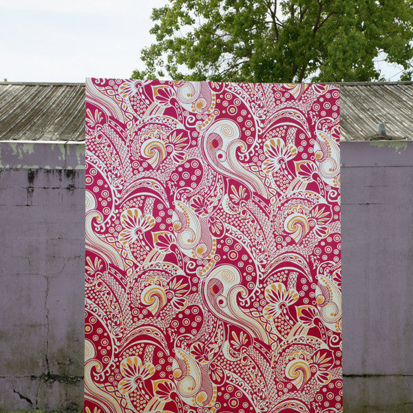 Kashmiri - Raspberry Sorbet on Silver Mylar Wallpaper by Flavor Paper - Vertigo Home