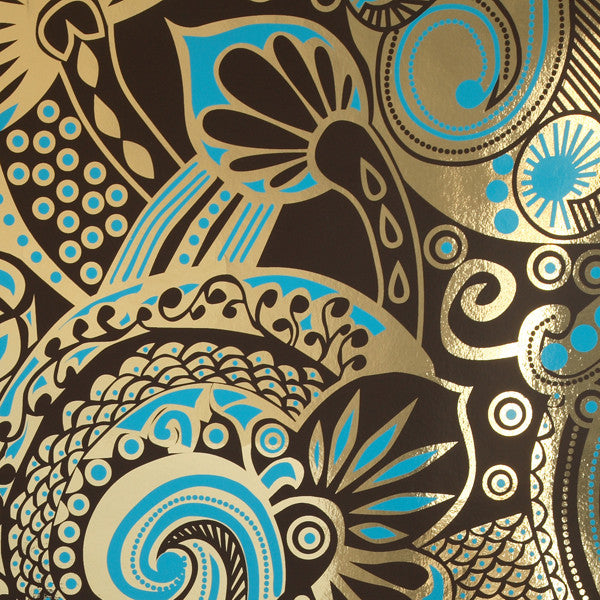 Kashmiri - Santa Fe on Bright Gold Mylar Wallpaper by Flavor Paper - Vertigo Home