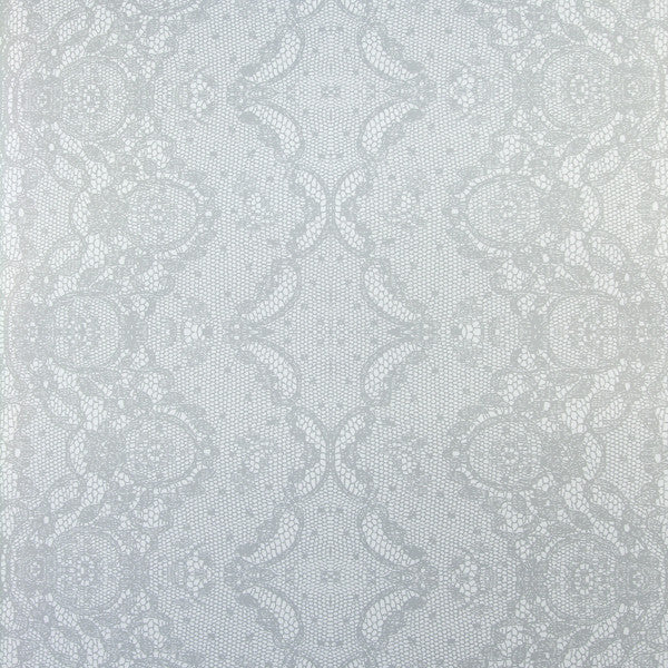 Laced - Brilliant on Ivory Clay Coated Paper Wallpaper by Flavor Paper - Vertigo Home