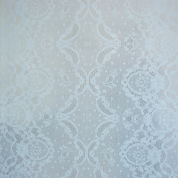 Laced - Light Blue on Silver Mylar Wallpaper by Flavor Paper - Vertigo Home