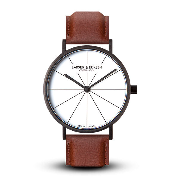 37mm Larsen & Eriksen Absalon Watch Black/White/Brown