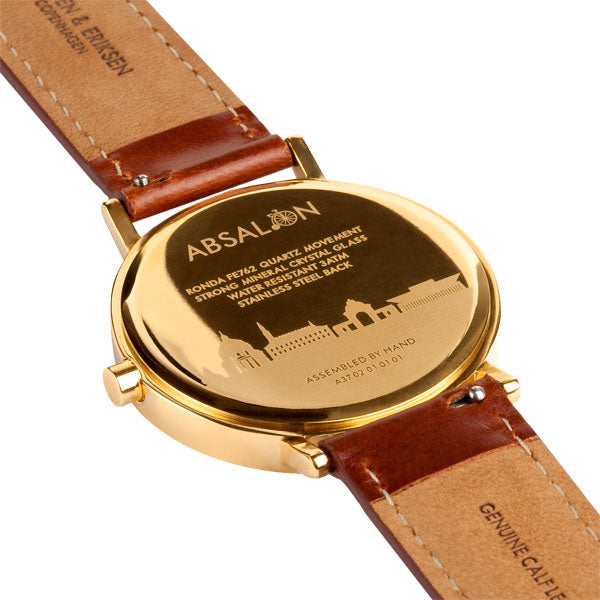 37mm Larsen & Eriksen Absalon Watch Gold/Gold/Brown