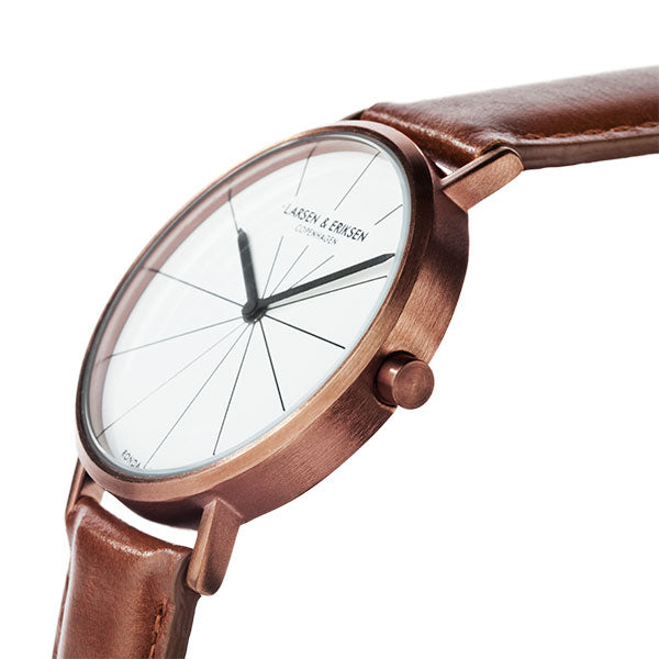 37mm Larsen & Eriksen Absalon Watch Rosegold/White/Brown