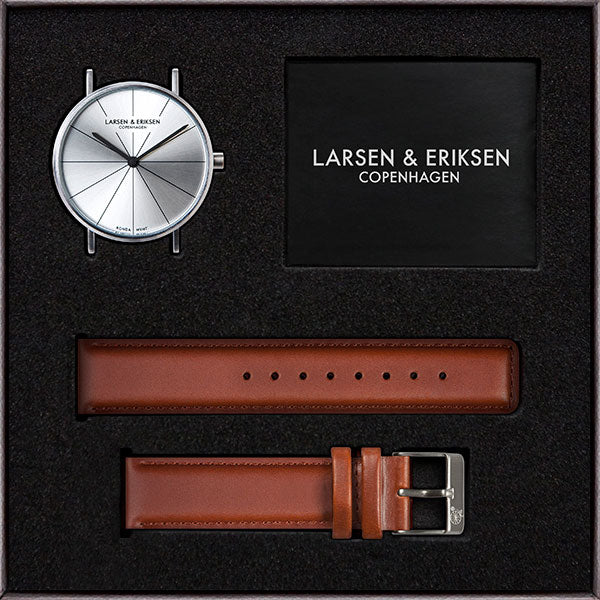 37mm Larsen & Eriksen Absalon Watch Silver/Silver/Brown