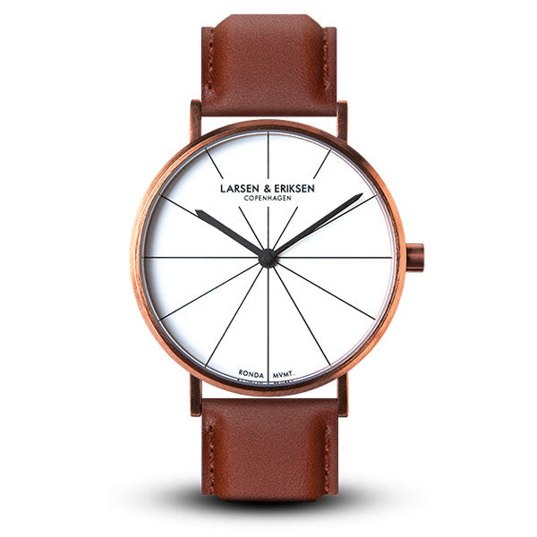 41mm Larsen & Eriksen Absalon Watch Rosegold/White/Brown