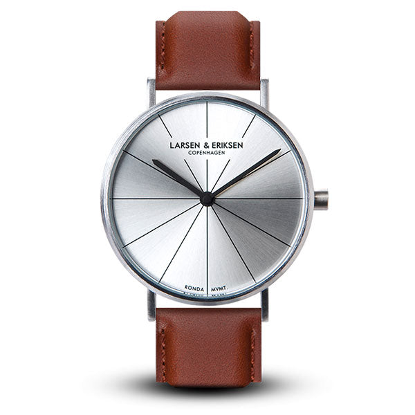 41mm Larsen & Eriksen Absalon Watch Silver/Silver/Brown