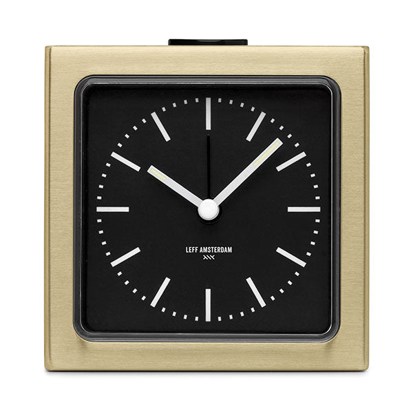Brass Index Block Alarm Clock by Leff Amsterdam