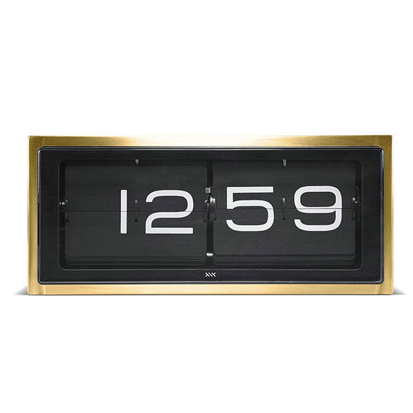 Brass 24hr Brick Wall / Desk Clock by Leff Amsterdam