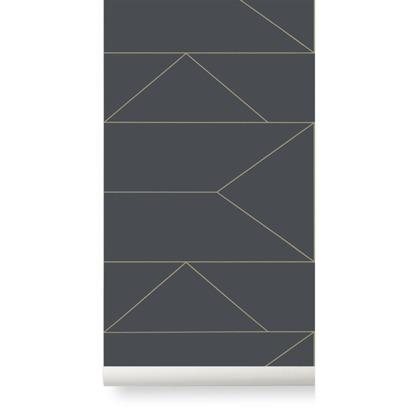 Lines Wallpaper - Graphite by Ferm Living