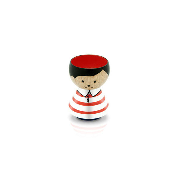 Bordfolk Egg Cup - Boy, Red and White Stripes by lucie kaas