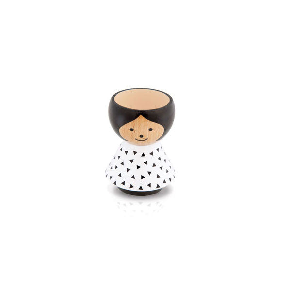 Bordfolk Egg Cup - Girl, White with Black Triangles by lucie kaas - Vertigo Home