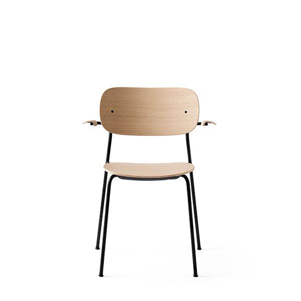 Co Chair Dining Chair with Armrest - Black / Natural Oak by the Office Group & Norm Architects for Menu
