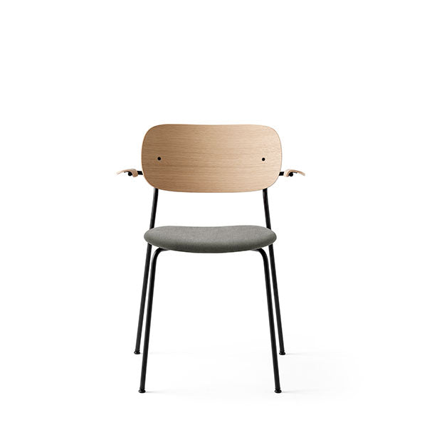 Co Chair Dining Chair with Armrest Upholstered - Natural Oak / Grey by the Office Group & Norm Architects for Menu