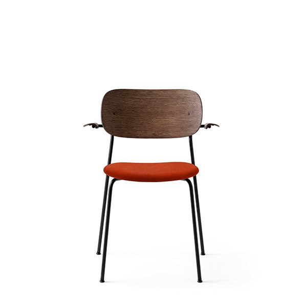 Co Chair Dining Chair with Armrest Upholstered - Dark Oak / Red Velvet by the Office Group & Norm Architects for Menu