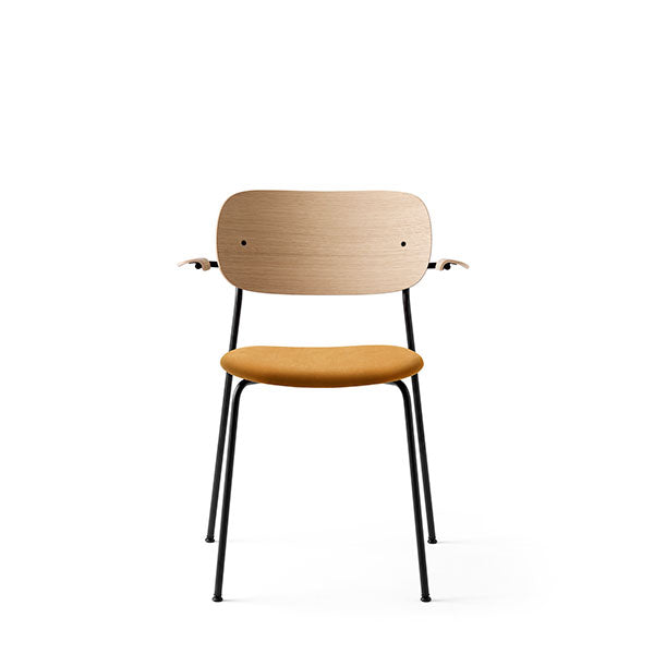 Co Chair Dining Chair with Armrest Upholstered - Natural Oak / Orange Velvet by the Office Group & Norm Architects for Menu