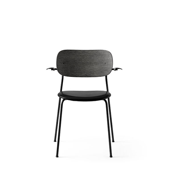 Co Chair Dining Chair with Armrest Upholstered - Black Oak / Dakar Black by the Office Group & Norm Architects for Menu
