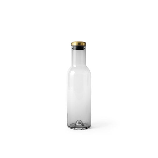 Water Bottle Carafe 34 oz Smoked Glass with Brass Lid by Norm Architects for Menu