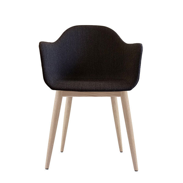 Harbour Chair, Upholstered Shell, Charcoal Fabric with Natural Oak Legs by Norm Architects for Menu