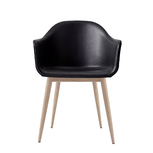 Harbour Chair, Upholstered Shell, Nevotex Dakar Black Leather with Natural Oak Legs by Norm Architects for Menu
