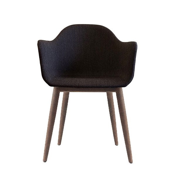 Harbour Chair, Upholstered Shell, Charcoal Fabric with Dark Oak Legs by Norm Architects for Menu