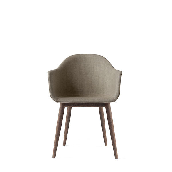 Harbour Chair, Upholstered Shell, Sandy Brown Fabric with Dark Oak Legs by Norm Architects for Menu