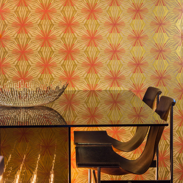 Meteor Flower - Mayan Regency on Oatmeal Clay Coated Paper Wallpaper by Flavor Paper - Vertigo Home