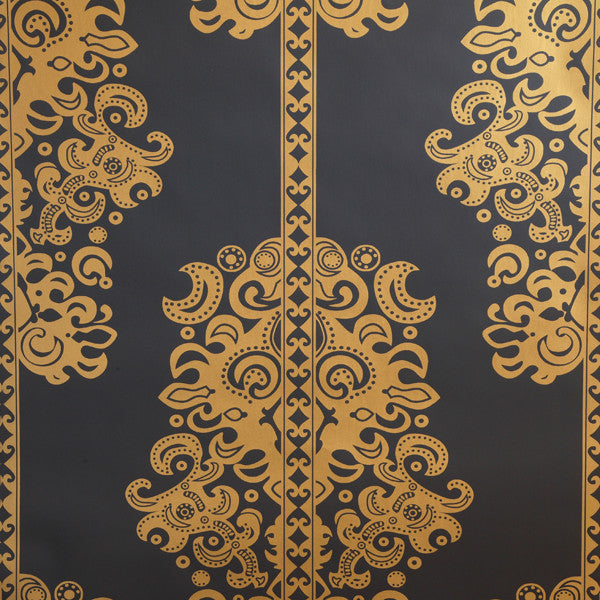 Monaco - Gold on Ebony Clay Coated Paper Wallpaper by Flavor Paper - Vertigo Home